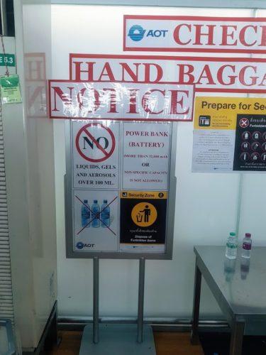 Hand Baggage Notice Thailand