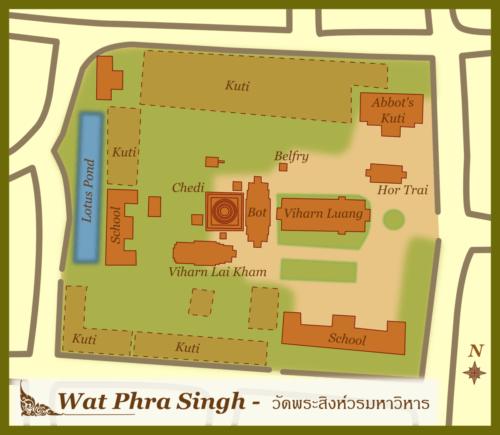 Map Wat Phra Singh, Chiang Mai, Thailand