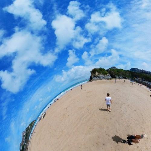 Towan Beach, Newquay, Cornwall, uk Tiny Planet