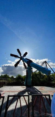 Blue sky and thrill ride