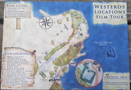 Film location map Game of Thrones Winterfell, Castle Ward, Northern Ireland