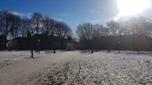 Bristol Queens square in the snow