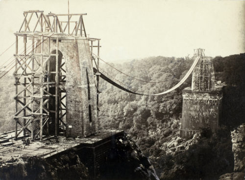 Clifton Suspension Bridge being constructed