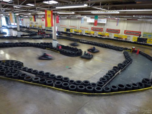 Go karts on a track