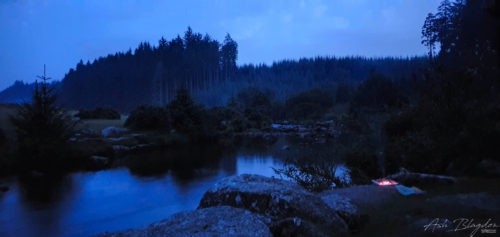 Night time next to a river