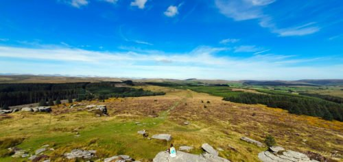 Blue skies on top of Dartmoor