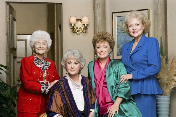 THE GOLDEN GIRLS -- Season 4 -- Pictured: (l-r) Estelle Getty as Sophia Petrillo, Bea Arthur as Dorothy Petrillo Zbornak, Rue McClanahan as Blanche Devereaux, Betty White as Rose Nylund -- Photo by: Paul Drinkwater/NBCU Photo Bank