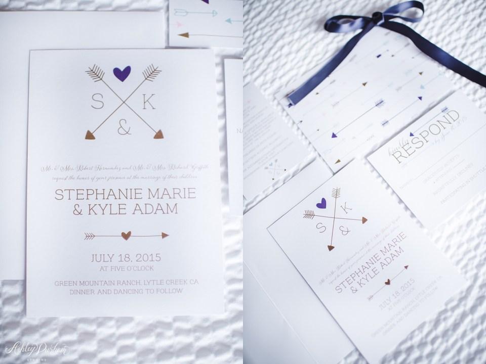Green Mountain Ranch Wedding, arrows invitation, wedding invitation with arrows