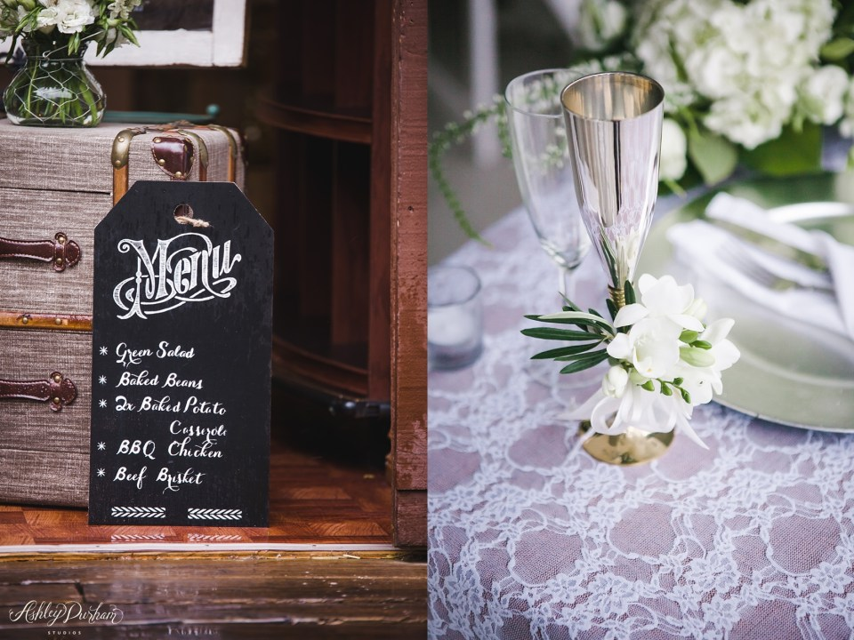 Green Mountain Ranch Wedding, simple wedding table settings, DIY menu sign