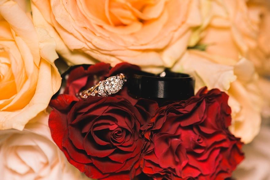 studio la fleur, fall rose bouquet, autumn rose bouquet, studio la flour, griffith house, anaheim wedding, robbins brothers ring