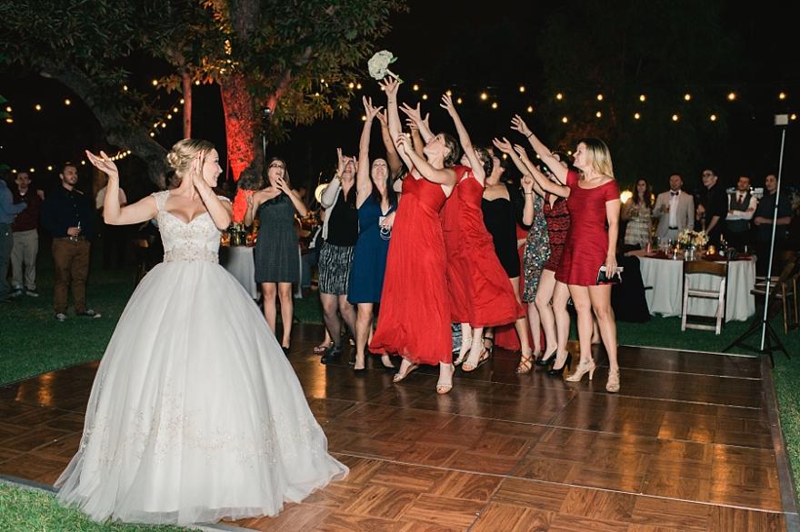 fun dancing photos from wedding receptions, bouquet toss