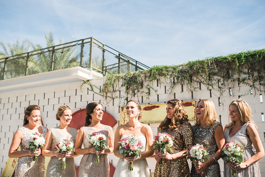 ace hotel wedding, bridesmaids at the ace hotel, ace hotel palm springs wedding, palm springs wedding