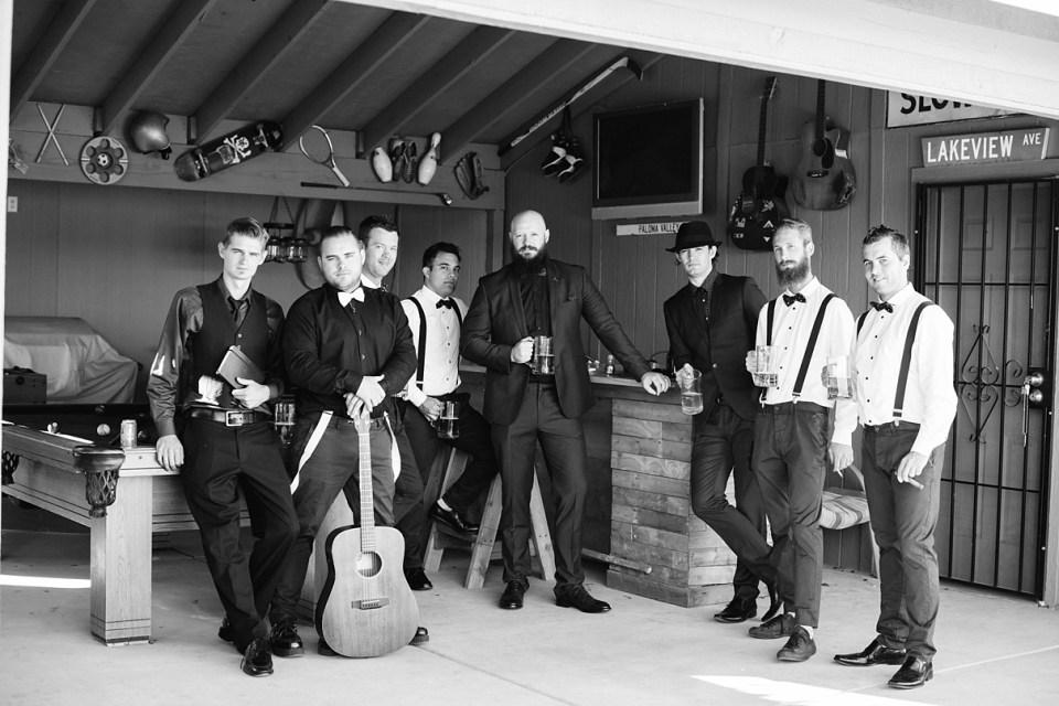 vintage wedding, rock and roll wedding, bow ties and suspenders for groomsmen