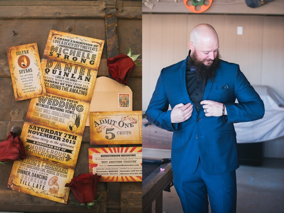 carnival wedding invitation, vintage wedding invitation, circus wedding, jaqi quinlan, navy blue suit, groom with an awesome beard