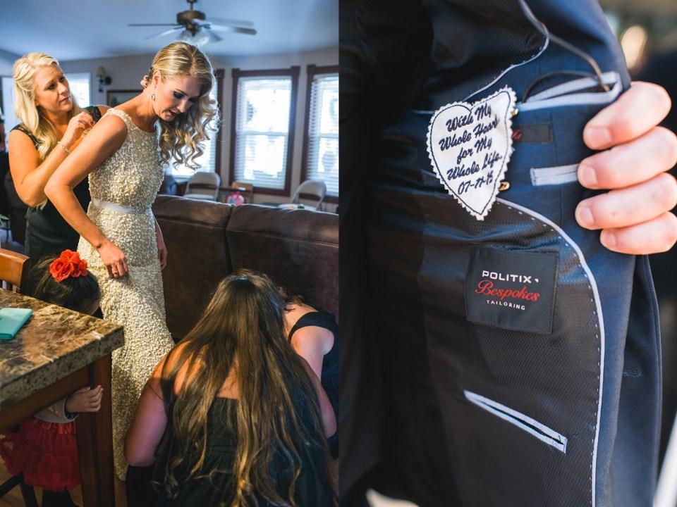 backyard vintage carnival wedding, surprise patch in jacket, at home wedding