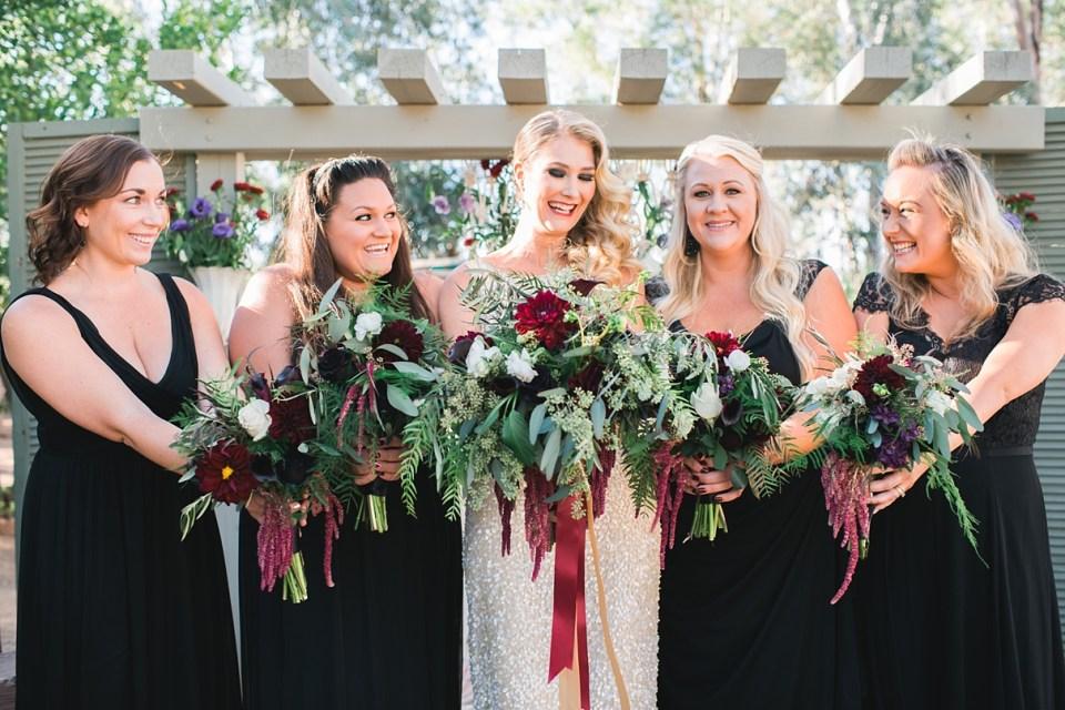 backyard vintage carnival wedding, sweet petals florist, backyard wedding, menifee wedding, gold sequin wedding dress, black bridesmaid dresses