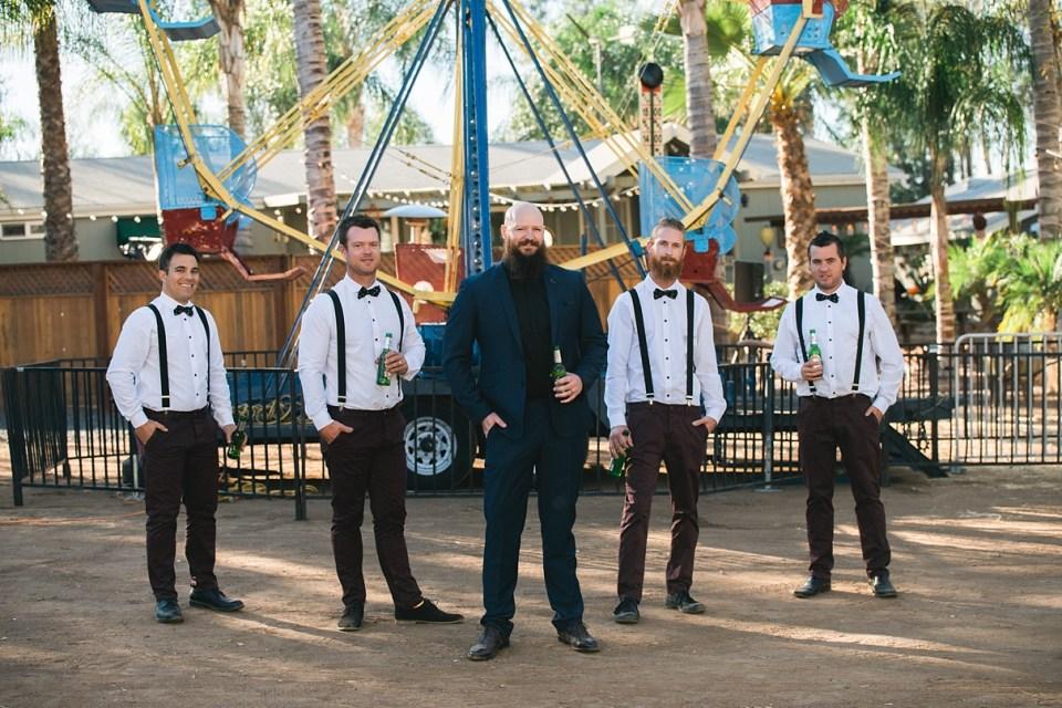 backyard vintage carnival wedding, groomsmen with a ferris wheel, circus wedding, bow ties and suspenders