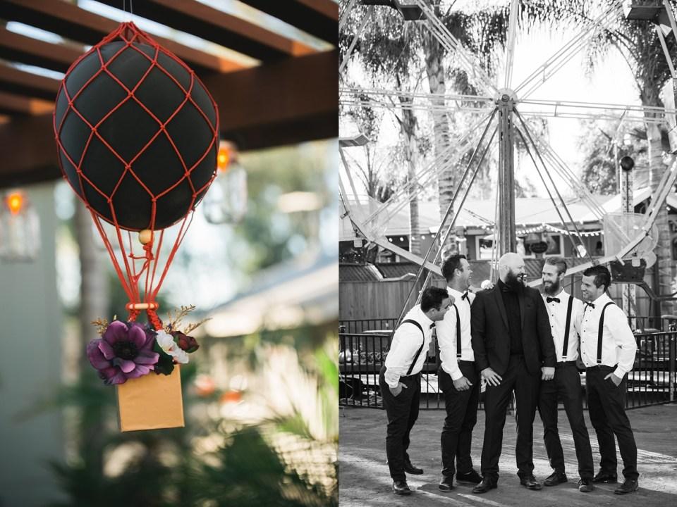 backyard vintage carnival wedding, decoupage hot air balloon