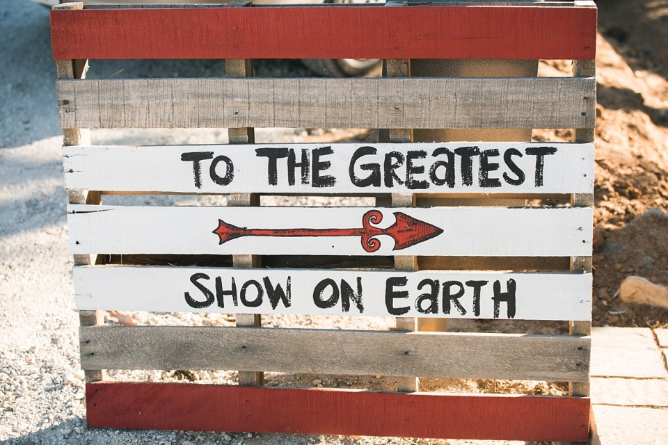 backyard vintage carnival wedding, pallet carnival signs, DIY circus signs, greatest show on earth sign