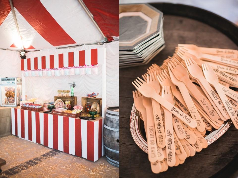 backyard vintage carnival wedding, circus wedding decor, carnival wedding decor, vintage wedding decor, DIY wedding, hot pretzels at wedding