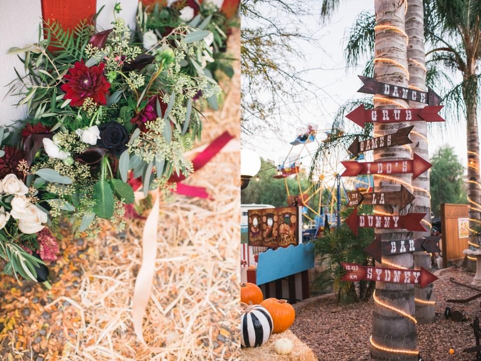 backyard vintage carnival wedding, sweet petals florist, menifee wedding, DIY wedding signs