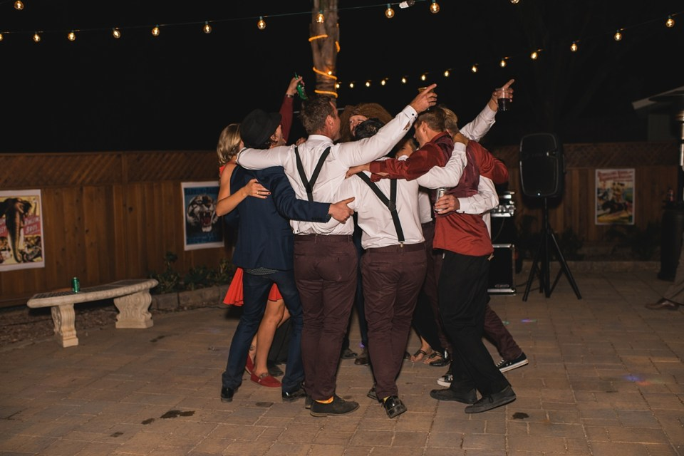group dancing at weddings, backyard reception