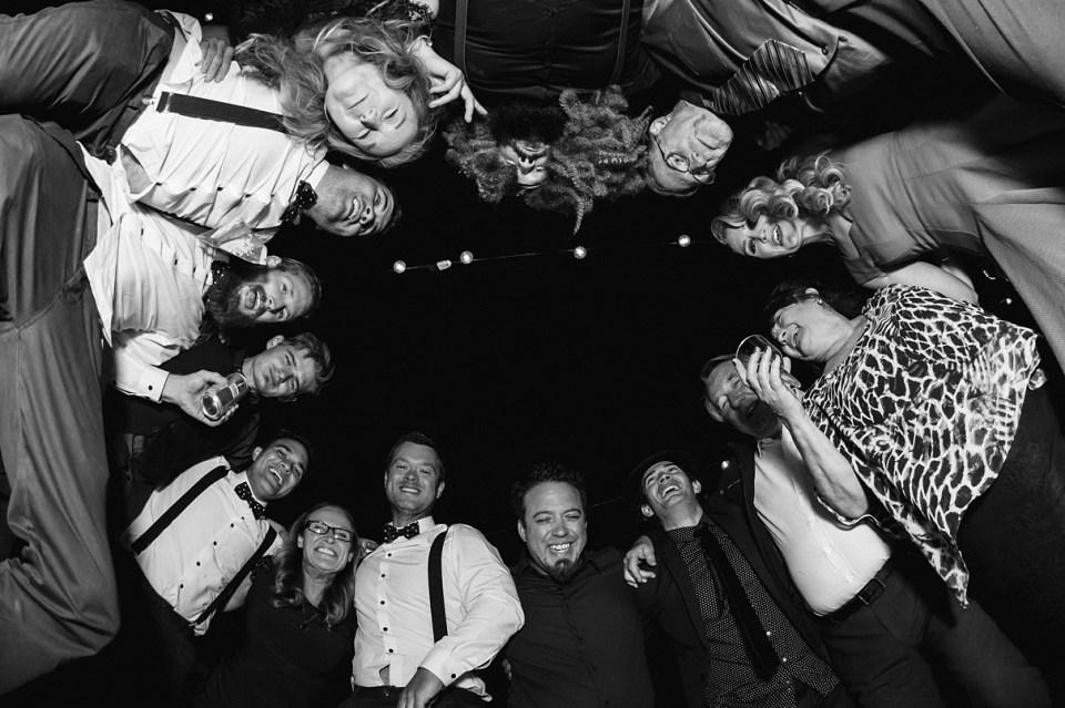group dancing at weddings, backyard reception, fun reception photos