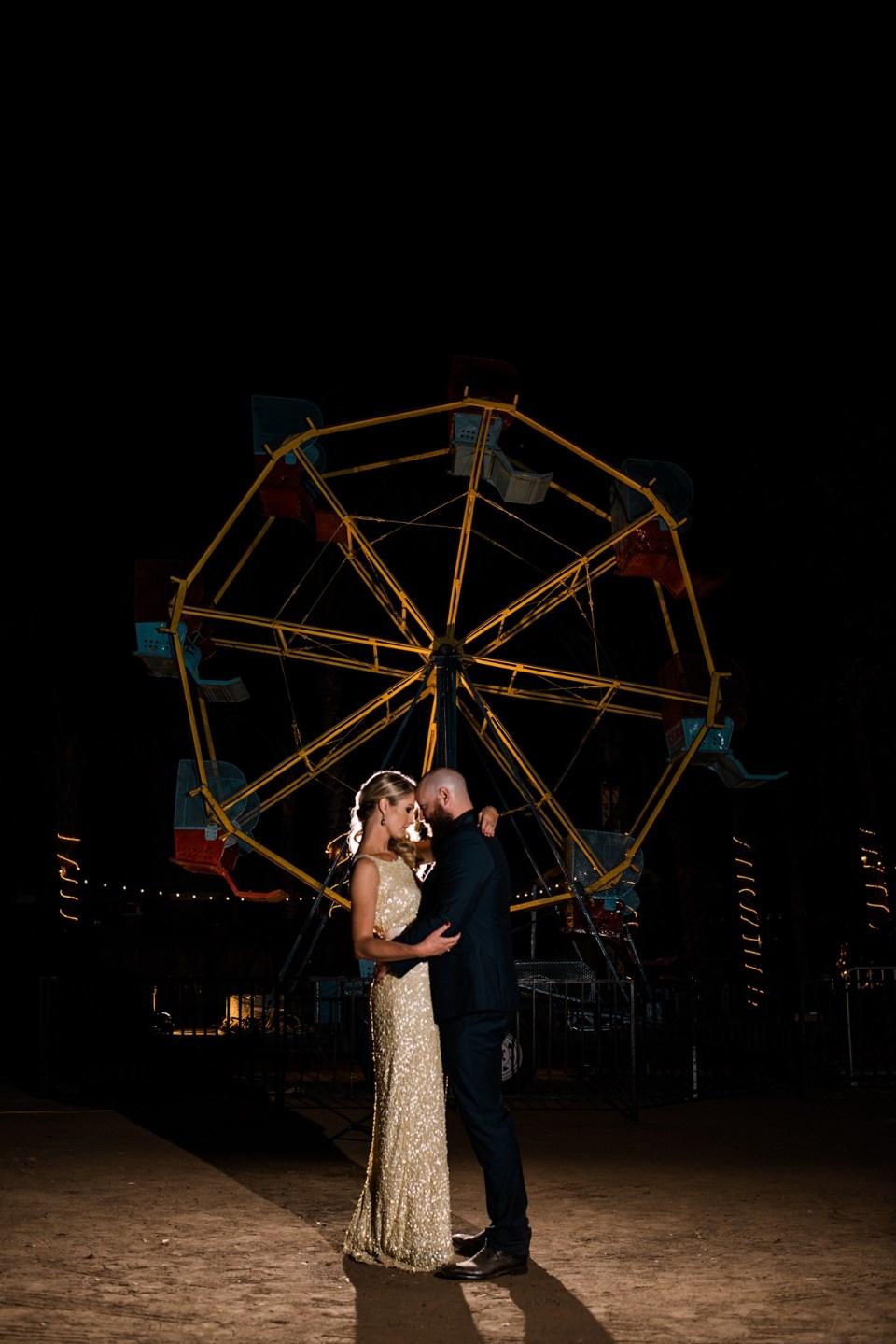backyard vintage carnival wedding, ferris wheel at weddings, OCF wedding group photography, nighttime wedding photography