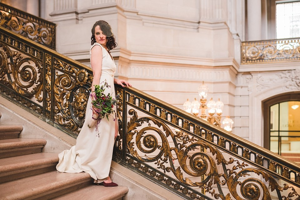 san francisco city hall wedding, bride on grand staircase
