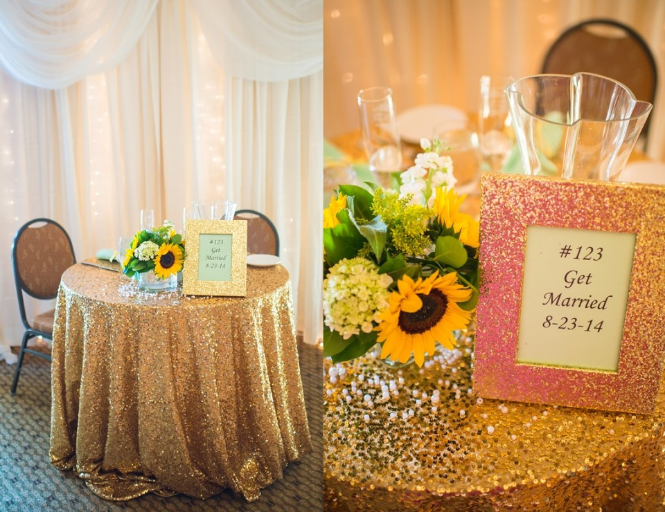 wedding reception seating options, sweetheart table for wedding reception, gold glitter sweetheart table
