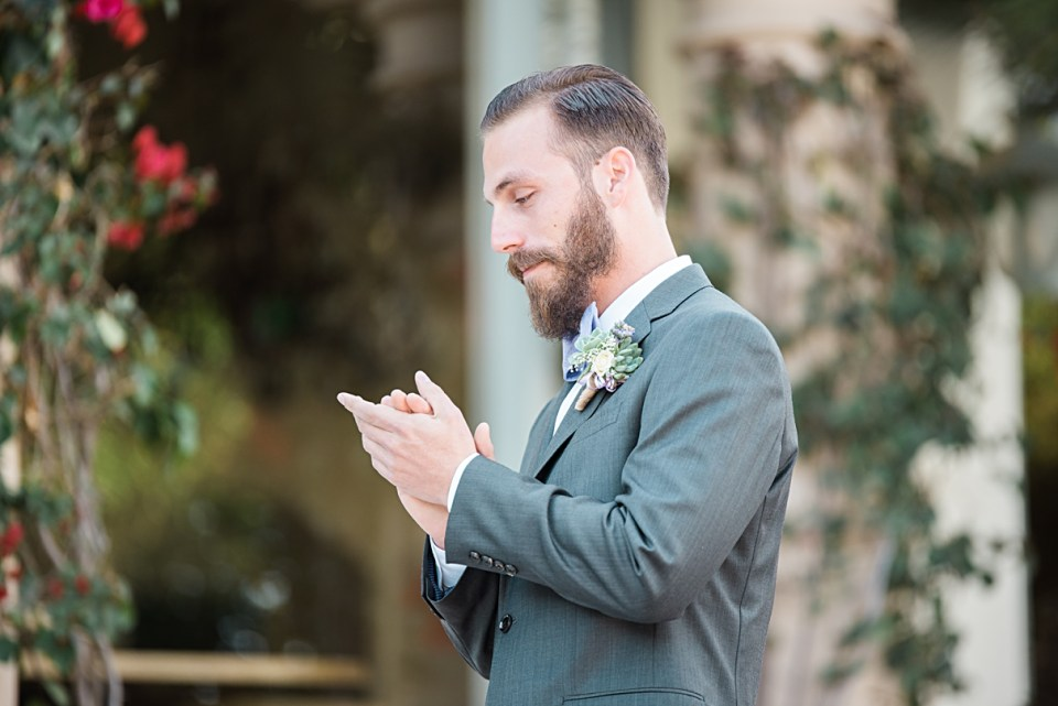 anxious groom at ceremony
