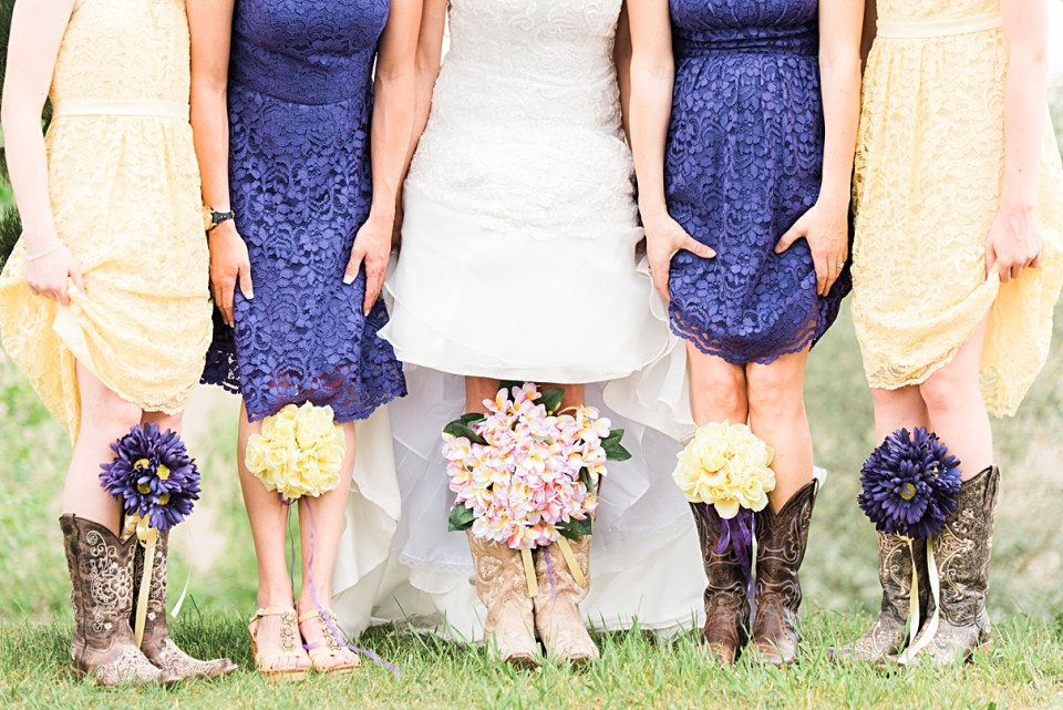 boots and bouquets, rustic bridesmaids posing