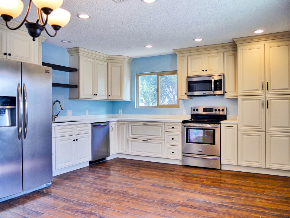blue and off white kitchen