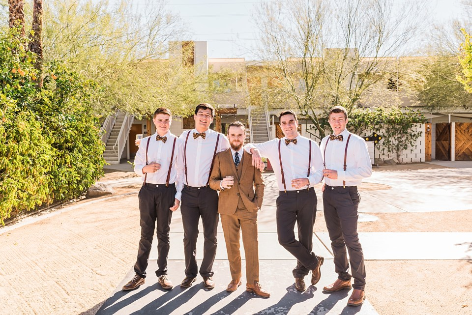 boho groomsmen portrait