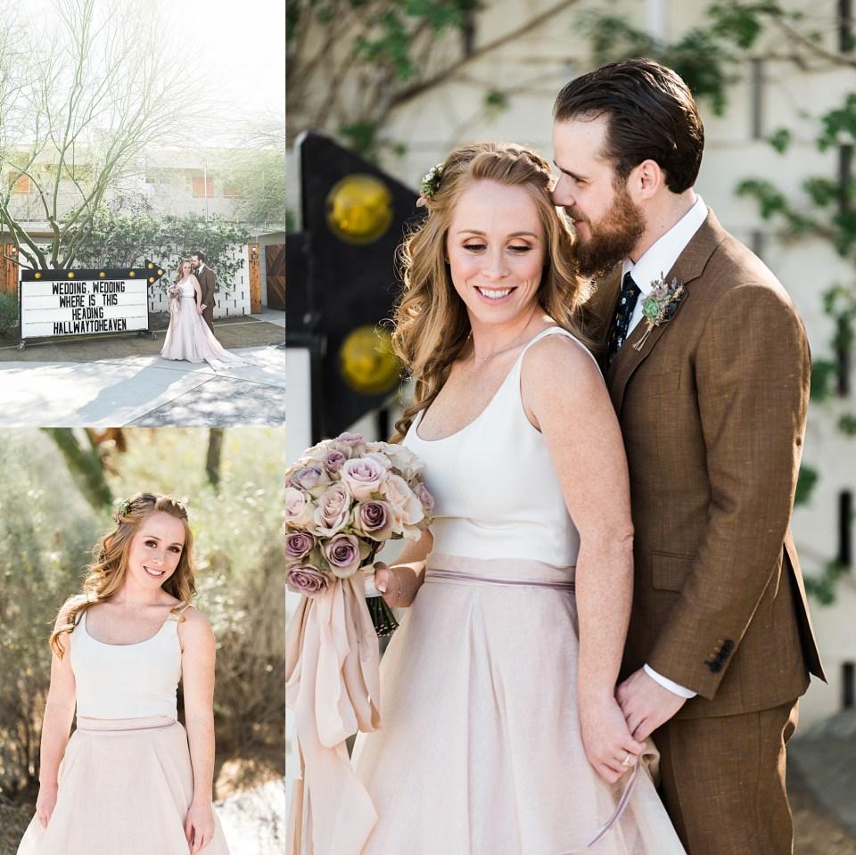 blush and brown wedding attire