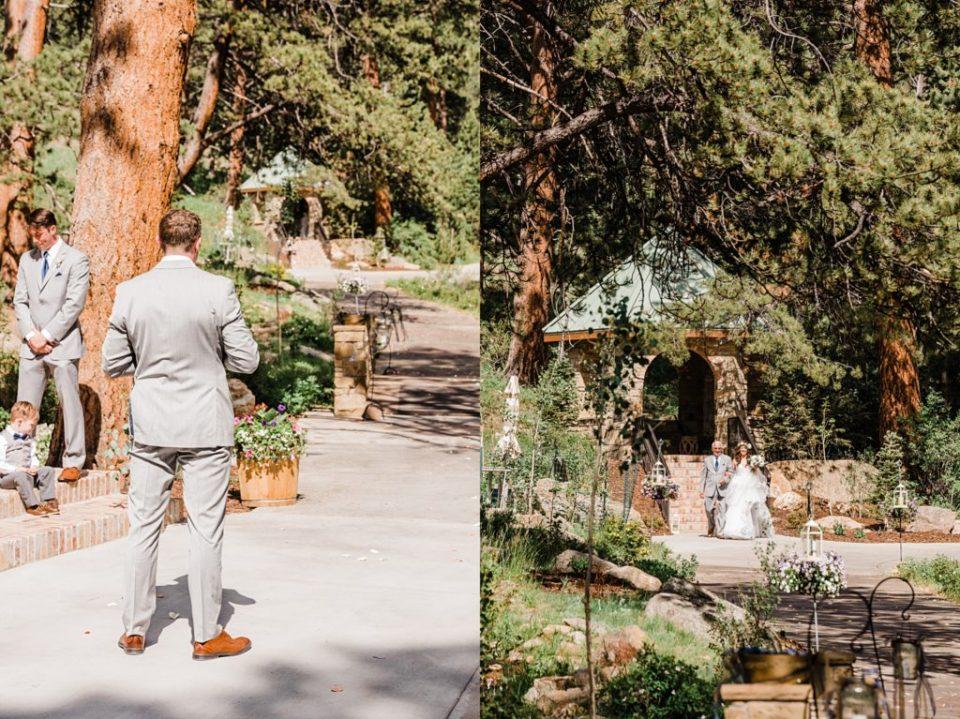 groom watching bride walk toward him at della terra