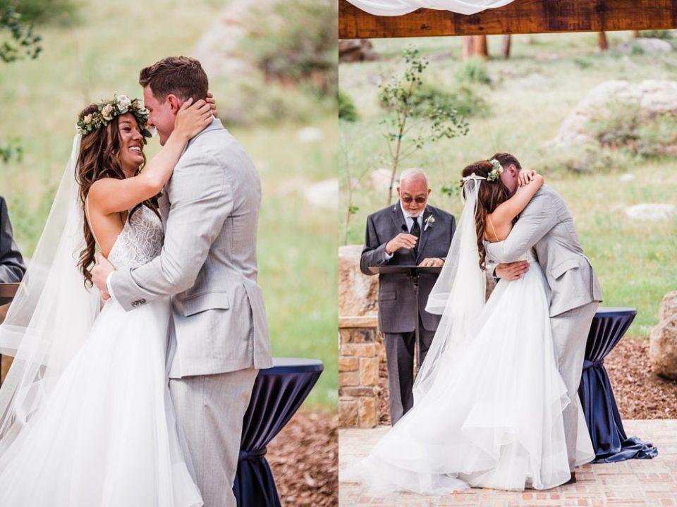 first kiss at estes park wedding