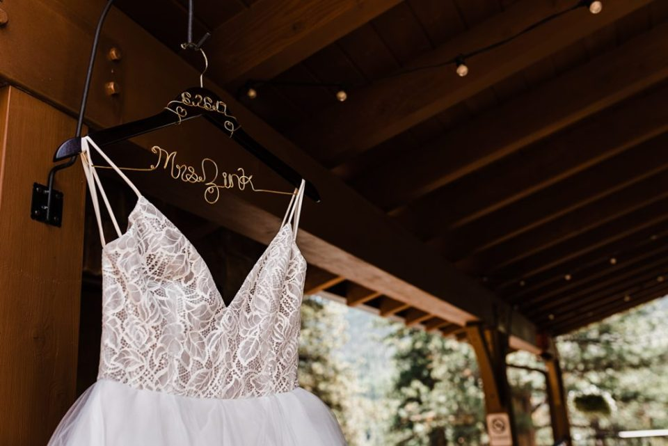 customized hangar for wedding dress