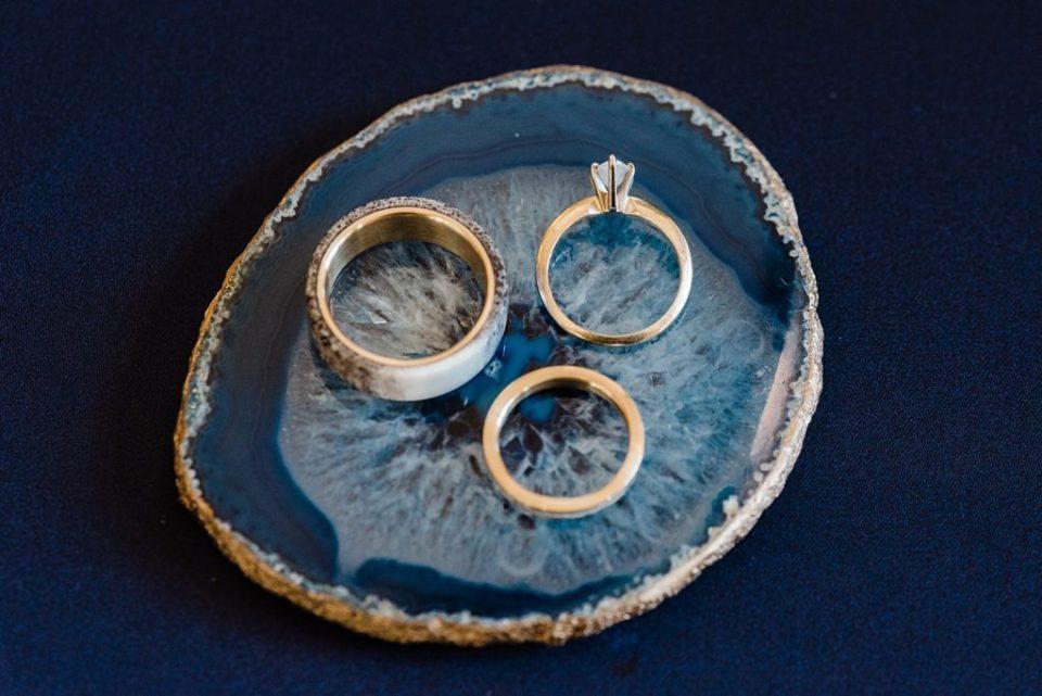 wedding rings on geode agate