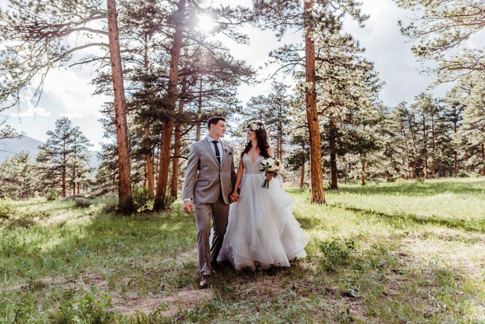 bride and groom together in estes park colorado