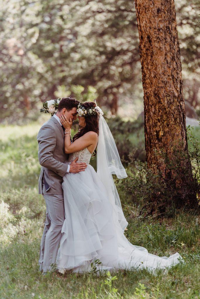 romantic bride and groom portrait