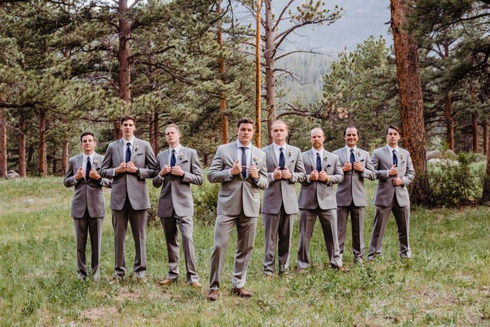 groomsmen wedding photos at della terra in estes park