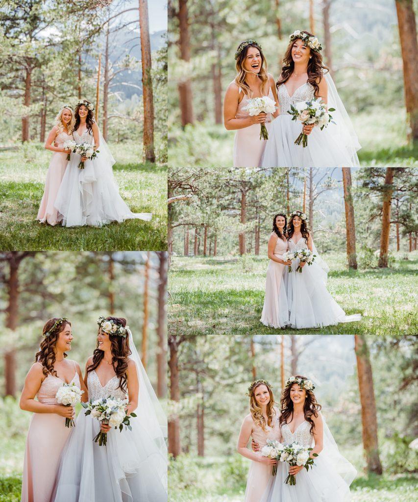 bride and bridesmaids portrait estes park wedding