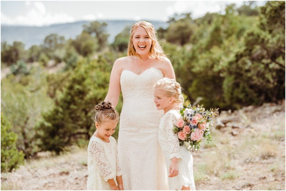 mountain bride with flower girls