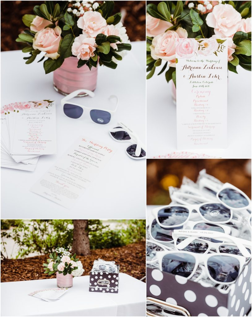 wedding ceremony entrance table with personalized white sunglasses