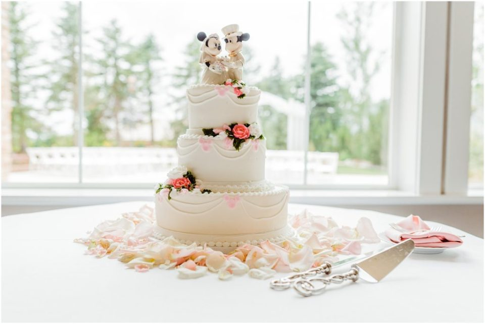 disney themed wedding cake with hidden mickeys