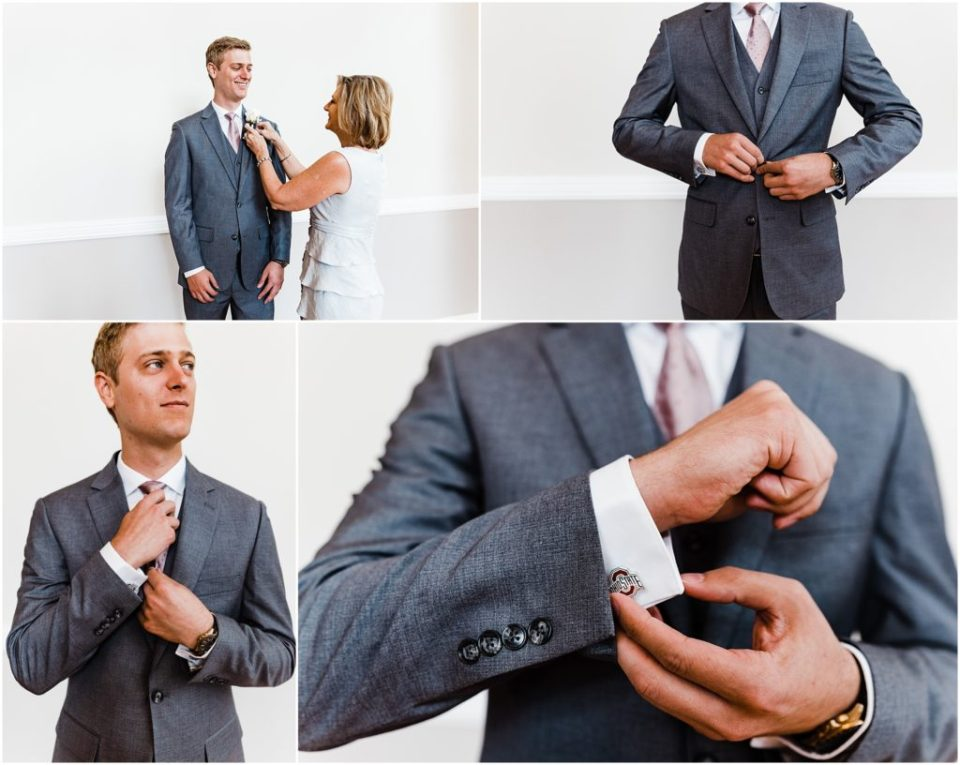 groom getting ready with ohio state cufflinks