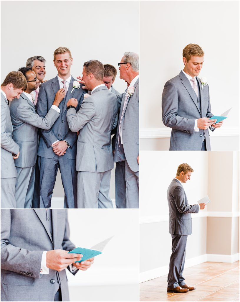 groom getting ready with his groomsmen