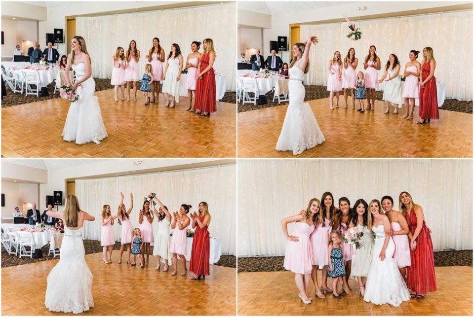bridal bouquet toss at wedgewood ken caryl