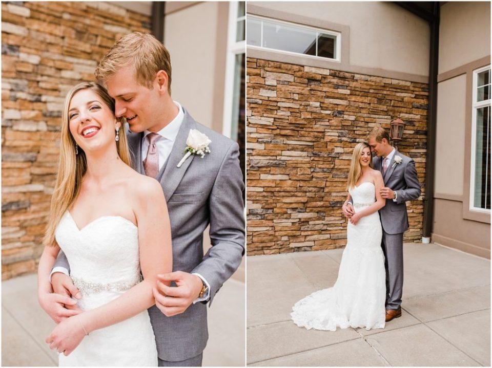 bride and groom at wedge wood ken daryl